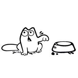 Simon's Cat and Food Bowl Vinyl Decal Car Stickers