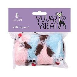 Savvy Tabby Snuggle Mice Cat Toys, 4-Packs