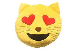 Soft Emoji Emoticon Cat Heart Eyes Face Yellow Round Cushion