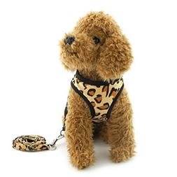 smalllee_lucky_store Soft Leopard Small Dog Cat Harness Leas