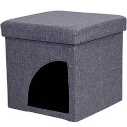Favorite Soft Portable Opening Cat Play Cube Bed, Grey