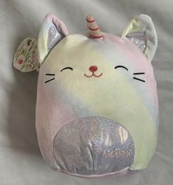 """Squishmallows 8"""" Camilla the Caticorn Cat Unicorn Silver Bel"""