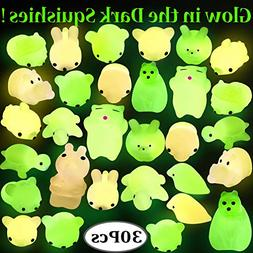 Outee Squishy Mochi Animals, 30 Pcs Xmas Gift Glow in The Da