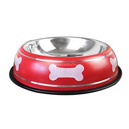 LVSEHUIYI Stainless Steel Dog Cat Bowl Bone Printed Pet Dogs