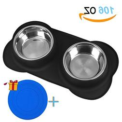 Newstarxy Dog Bowls - Stainless Steel Dog Bowl with Non-Skid