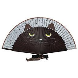 Generic Summer Bamboo Hand Folding Fan Cute Cat Silk Cartoon
