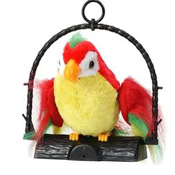 E-SCENERY Talking Parrot Plush Toy, Waving Wings Pet Repeats