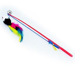 Teaser Play Wand Tickle Stick With Dangle Mice and Small Bel