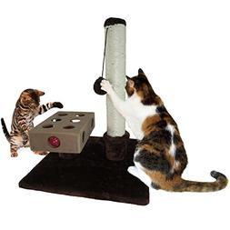 Furhaven Pet Tiger Tough Small Busy Box & Scratch Post Play,