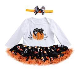 Dinlong Toddler Girls Romper Dress Halloween Skull Pumpkin C