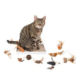 Cat Toy Box with 9 Beautiful Eco-Friendly Cat Toys Plus a Bu