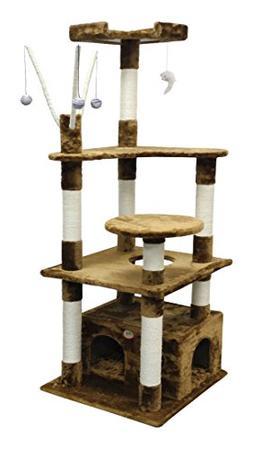 """Go Pet Club F3032 Toy Cat Tree, 65.5"""", Brown"""