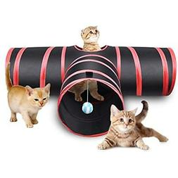 Tunnels Creaker 3 Way Cat Tunnel, Collapsible Pet Toy Ball C