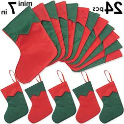 "Ivenf 24 Pack 7"" Twill Mini Christmas Stockings Gift Card Ba"