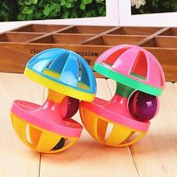 QINF Two-Tone Dumbbell Shaped Squeaking Toys with Bell Decor