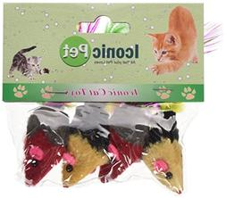 Iconic Pet 24 Pieces TwoTone Short Hair Fur Mice with Feathe