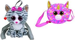 """TY Gear 13"""" Kiki the Grey Cat Backpack and 8"""" Fantasia the R"""