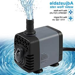 Ankway Upgraded 160GPH Submersible Water Pump with Vinyl Tub
