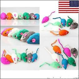 US 10pcs/set Pet  Rabbit Fur Toys False Mouse Kitten Cat Min