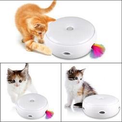 US Electric Pet Cat Toy Smart Teaser Interactive Kitten Rota