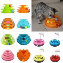 US Pet Cat Amusement Plate Trilaminar Cat Kitty Crazy Ball D