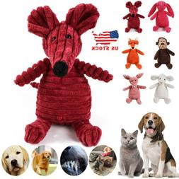 US Pet Cat Dog Plush Chew Toys Squeaky Aggressive Chewer Gua