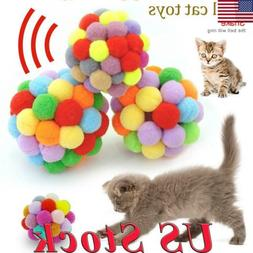 US Plush Bouncy Ball Pet Cat Toy Dogs Colorful Handmade Bell