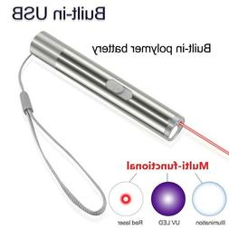USB LASER POINTER RECHARGEABLE ~ 3 in 1 Cat Pet Toy Red UV F