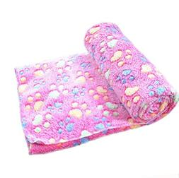 MALLOOM Warm Pet Mat Puppy Cat Paw Print Fleece Soft Blanket