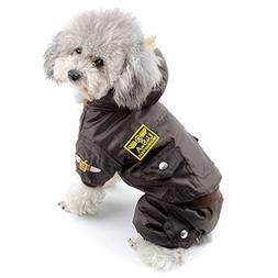 SELMAI Waterproof Fleece Lined Dog Coat Air Force Hooded Jum
