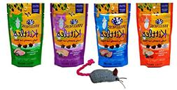 Wellness Kittles Grain Free Cat Treats 4 Flavor with Toy Bun