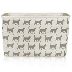 White Cat Canvas Storage Basket Box for Household Items or T
