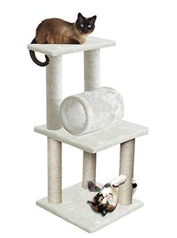 "White Pet Cat Tree 33"" Play Tower Bed Furniture Scratch Post"