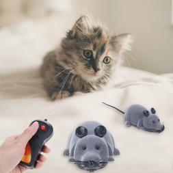 Wireless Electric RC Flocking Rat Toys Pet Cat Remote Contro