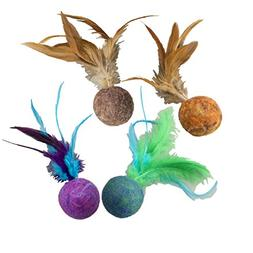 "Ethical Pets Wool Ball with Feathers Wuggles Cat Toy, 5"", As"