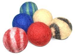 Comfy Pet Supplies Set of 6-100% Wool Felt Ball Toys for Cat