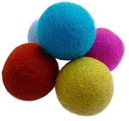 Earthtone Solutions Set of 5 Wool Felt Ball Toys for Cats an
