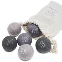 Modern Animal Set of 6 Wool Felt Ball Toys with Jingle Bell