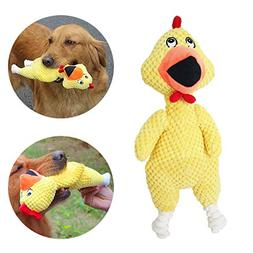 PET SHOW Yellow Dog Chew Toy Plush Chicken with Squeakers fo