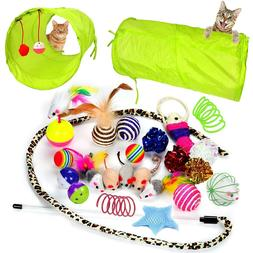 Youngever 24 Cat Toys Kitten Toys Assortments, 2 Way Tunnel,