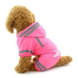SMALLLEE_LUCKY_STORE YP0236-Pink-L Small Dog Waterproof Refl