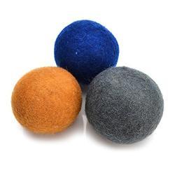 """Set of 3 Pack 100% New Zealand Wool Pet Balls,2.36"""" Diamet"""