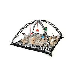 Zebra Print Cat Play Tent with Dangle Toys Pet Interactive K
